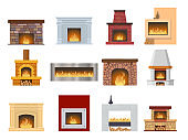 Set fireplace made of colored bricks, natural stone, gypsum, flame