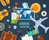 Winning lottery trip. Summer travel the world. Concept success, fortune
