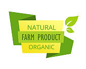 Eco-friendly guaranteed natural products, food market, farm, biological label.