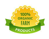 Eco-friendly natural products organic food, farm, biological labels, tags, stickers.
