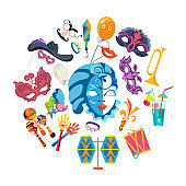 Set of carnival, masquerade, party and festive accessories