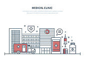 Medical clinic, facade of public hospital building, medical facility.