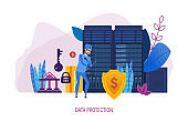 Data protection. Internet security, protection of data, confidential information.