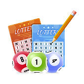 Lottery with marked winnings numbers. Balls with numbers for game.