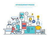 App development process. Information technologies, programming, coding, web design
