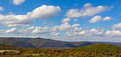 panoramic autumn landscape with forest hills and blue sky with clouds