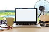 Blank laptop screen in Summer