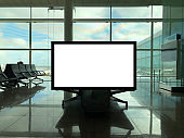Blank Billboard at Airport Lounge