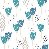Seamless pattern with flowers. Creative botanical background. Perfect for kids apparel,fabric, textile, nursery decoration,wrapping paper.Vector Illustration