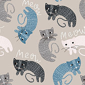 Seamless childish pattern with cute cats. Creative kids texture for fabric, wrapping, textile, wallpaper, apparel. Vector illustration