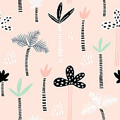 Seamless pattern with hand drawn palm trees. Creative summer modern texture for fabric, wrapping, textile, wallpaper, apparel. Vector illustration