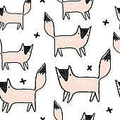 Seamless pattern with hand drawn foxes. Creative scandinavian modern texture for fabric, wrapping, textile, wallpaper, apparel. Vector illustration