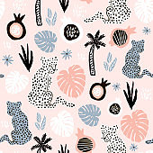 Seamless pattern with hand drawn leopards and palm leaves on pink background. Creative summer modern texture for fabric, wrapping, textile, wallpaper, apparel. Vector illustration