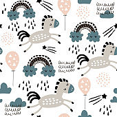 Seamless childish pattern with cute horses in the sky, rainbow. Creative kids texture for fabric, wrapping, textile, wallpaper, apparel. Vector illustration