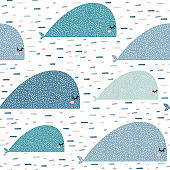 Seamless pattern with cartoon whales. Childish texture for fabric, textile,apparel. Vector background