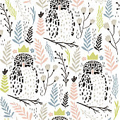 Seamless pattern with abstract owls and floral elements. Trendy scandinavian vector background. Perfect for apparel,fabric, textile, nursery decoration,wrapping paper
