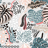 Palm branch trendy seamless pattern with hand drawn elements. Abstract tropical background. Great for fabric, textile Vector Illustration