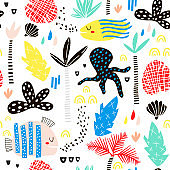 Seamless childish pattern with fish, octopust, palm tree, leaf and hand drawn shapes. Creative summer kids texture for fabric, wrapping, textile, wallpaper, apparel. Vector illustration