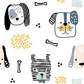 Seamless pattern with cute dog faces and hand drawn elements. Creative childish texture in scandinavian style. Great for fabric, textile Vector Illustration