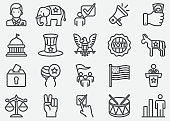 USA Election and Politics Line Icons