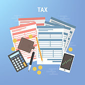 Tax calculation, budget calculation, accounting, paperwork concept.