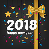 Happy New Year 2018 background decoration. Greeting card design template 2018