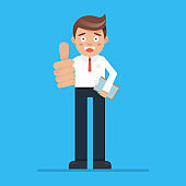 Vector stock of a happy businessman making thumbs up sign, success businessman.