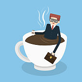 coffee time, man relaxing in coffee cup, vector eps10.