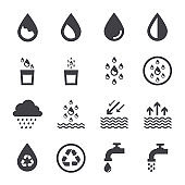 water icon set, black water sign.