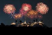 Beautiful fireworks bursting over illuminated Khao wang palace in Thailand