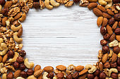 Mixed nuts frame. Cashew, hazelnuts, walnuts, almonds. Top view. Copy space.