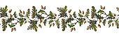 Seamless watercolor oak branch border