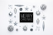 Online Christmas Shopping. Boxing Day Sale Background. Christmas ornaments and blank screen digital tablet isolated over white background.