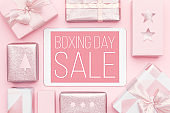 Boxing Day Sale Background. Online Shopping, Christmas Sale Concept.