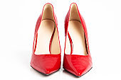 Red high heel female shoes