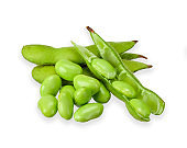 Green soy bean isolated on white clipping path
