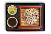 Tray with a traditional Japanese meal with cold soba noodles
