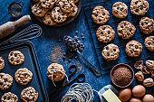 Preparing homemade chocolate chip cookies