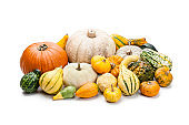 Various multi colored decorative gourds heap isolated on white background