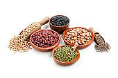 Different kinds of beans shot on white background