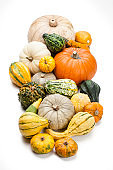 Various multi colored decorative gourds isolated on white background