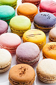 Several multi colored macaroons background
