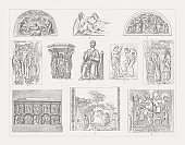 Medieval sculpture art, wood engravings, published in 1897