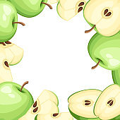 Pattern of apple and slices of apples. Vector illustration with empty space for decorative poster, emblem natural product, farmers market. Website page and mobile app design