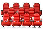 Cinema concept. Auditorium and three rows of red comfortable armchairs in the cinema. Drinks and popcorn, glasses for movie. Vector illustration on white background. Web site page and mobile app