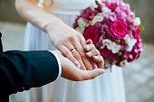 women's and men's hands with wedding rings