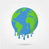 global warming / climate change world illustration -  earth vector -