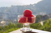 watermelon in a glass bowl