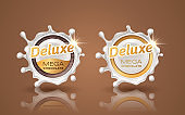 Set of deluxe design labels in gold color isolated on background. Swirl dynamic splash of milk. White chocolate circular border and drops. Packaging design element. Vector 3d illustration