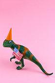 plastic funny green dinosaur